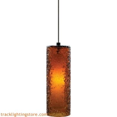 Mini Rock Candy Cylinder Pendant - Dark Amber - LED