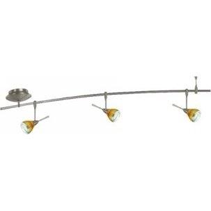4 Foot 150 Watt Monorail Kit with 3 Aero Heads with Round Glass Shades in Amber