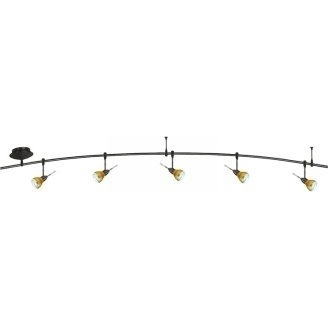 8 Foot 300 Watt Monorail Kit with 5 Aero Heads with Round Glass Shades in Amber