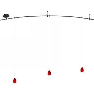 8 Foot 150 Watt Monorail Kit with 3 Raindrop Pendants in Red