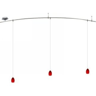 8 Foot 150 Watt Monorail Kit with 3 Raindrop Pendants in Red