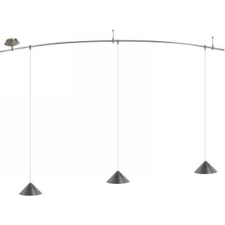 8 Foot 150 Watt Monorail Kit with 3 Small Sky Pendants in Satin Nickel