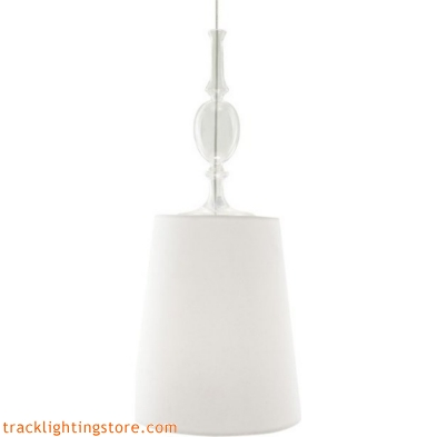 Kiev Large Pendant - White Shade - Clear Fount