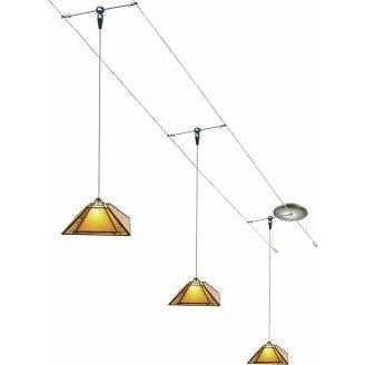 12 Foot 150 Watt Cable Kit with 3 Oak Park Pendants in Amber