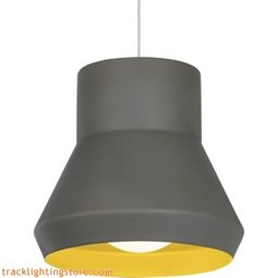 Milo Suspension Line Voltage Pendants - Gray Outside/Chartreuse Inside - Compact Fluorescent