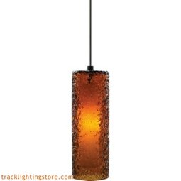 Mini Rock Candy Cylinder Pendant - Dark Amber - LED