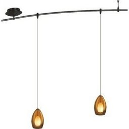 4 Foot 150 Watt Monorail Kit with 2 Fire Pendants in Amber