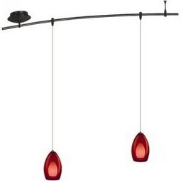 4 Foot 150 Watt Monorail Kit with 2 Fire Pendants in Red