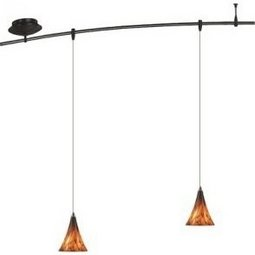 4 Foot 150 Watt Monorail Kit with 2 Mini Melrose Pendants in Tahoe Pine Amber
