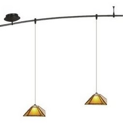 4 Foot 150 Watt Monorail Kit with 2 Oak Park Pendants in Amber