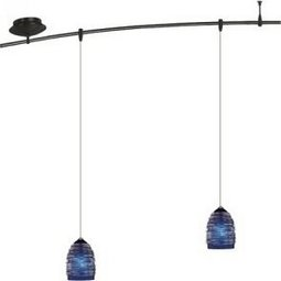 4 Foot 150 Watt Monorail Kit with 2 Small Nest Pendants in Cobalt