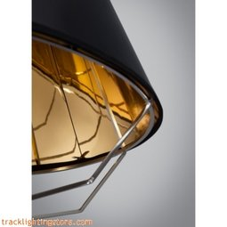 Artic Pendant - Gloss Black/Gold Shade - Black Cord - LED