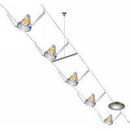 30 Foot 300 Watt Cable Kit (Flexible Supports / chrome) with 8 K-Bye-Bye Heads with Amber Shade