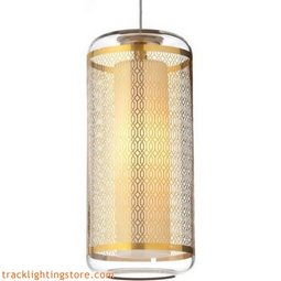 Ecran Pendant - Clear-polished Gold Lattice