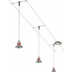 cable lighting kits. 12 Foot 150 Watt Cable Kit With 3 Red Accent Hanging Wok Pendants Lighting Kits