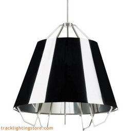 Mini Artic Pendant - Gloss Black - Silver Shade