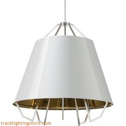Mini Artic Pendant - Gloss White - Gold Shade