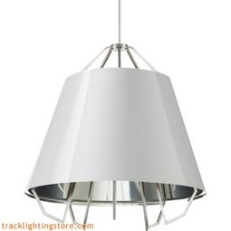 Mini Artic Pendant - Gloss White - Silver Shade