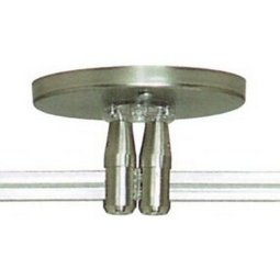 4 Inch Round twin powerfeed canopy for sloped ceilings with dual 300 watt remote transformer - 96 Inch stem length