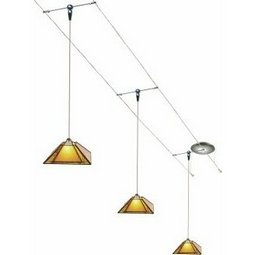 12 Foot 150 Watt Cable Kit with 3 Oak Park Pendants in Amber