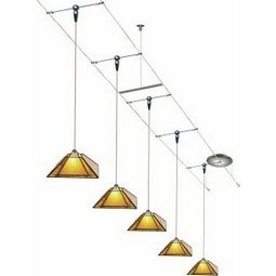 20 Foot 300 Watt Cable Kit (Flexible Support / satin nickel) with 6 Oak Park Pendants in Amber