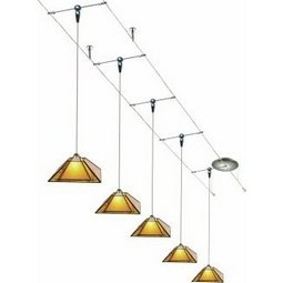 30 Foot 300 Watt Cable Kit (Stem Supports / satin nickel) with 8 Oak Park Pendants in Amber